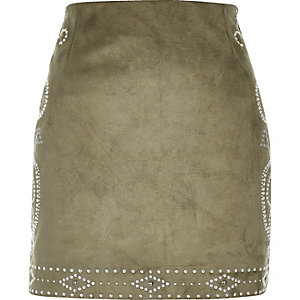 Khaki green stud mini skirt