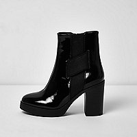 Black patent chunky ankle boots