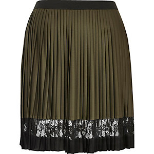 Khaki pleated lace panel mini skirt