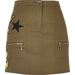 Khaki military patch skirt