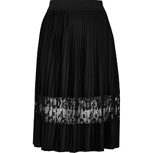 Black pleated lace panel midi skirt