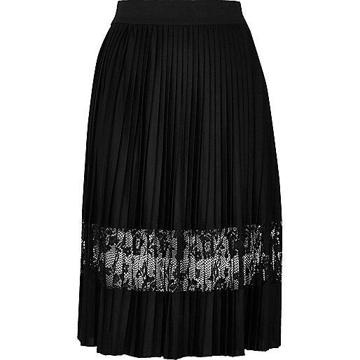 Black pleated lace panel midi skirt