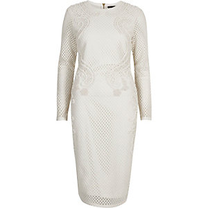 White embellished bodycon dress