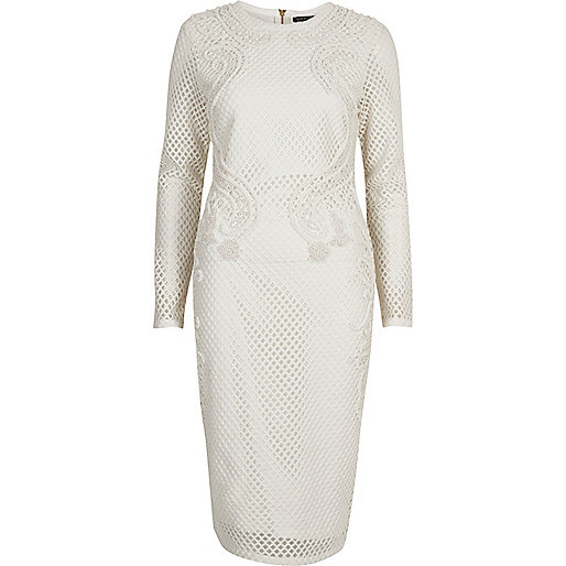 White embellished bodycon dress