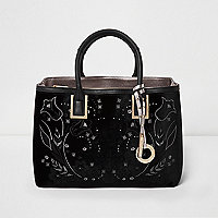Black velvet embroidered square tote bag