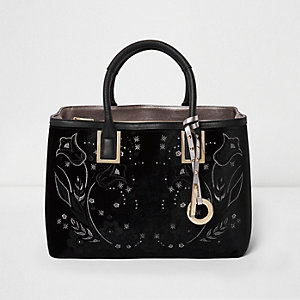 Black velvet embroidered square tote handbag