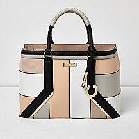 Blush pink panel boxy tote bag