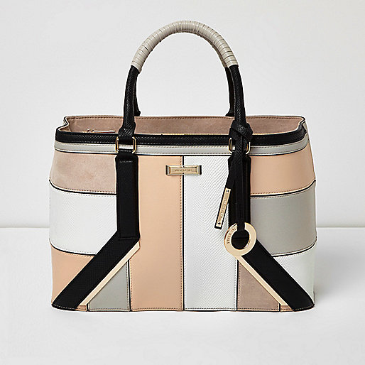 Blush pink panel boxy tote bag