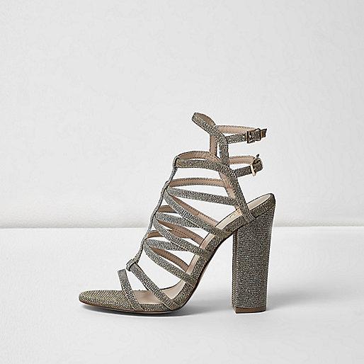 Chaussures métallisées à talons effet cage