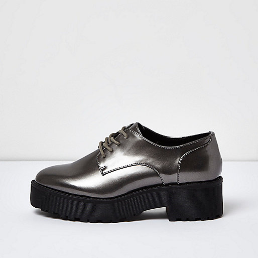 Silver chunky lace-up platform shoes