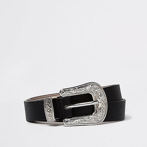 Black silver buckle Western belt