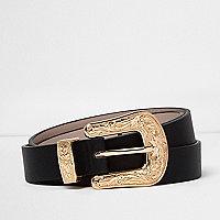 Black gold buckle western belt