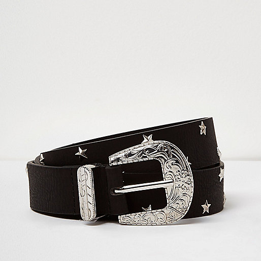 Black star studded western belt