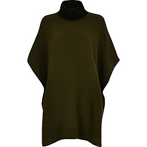 Khaki colour block ribbed poncho