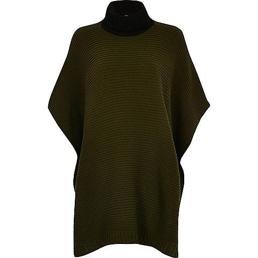 Khaki color block ribbed poncho