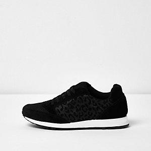 Black leopard print panel sneakers