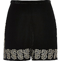 Black velvet embellished hem shorts