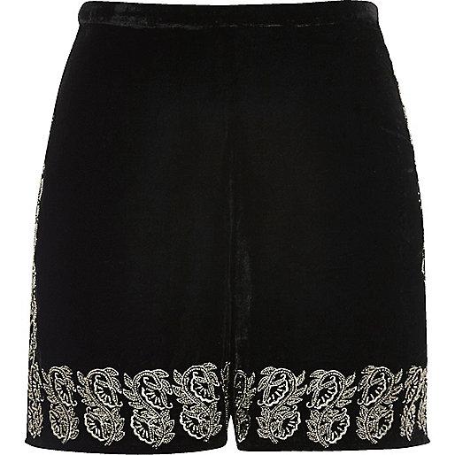 Black velvet embellished hem shorts