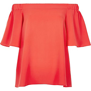 Coral bardot top