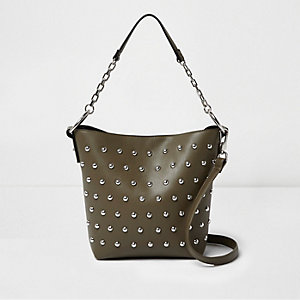 Khaki studded bucket handbag