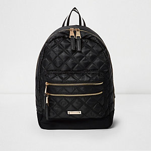 Black quilted backpack