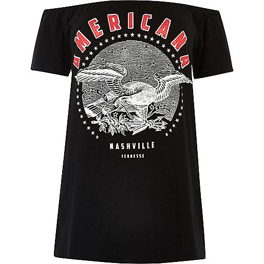 """RI Plus – Bardot-Oberteil mit """"Americana""""-Print"""