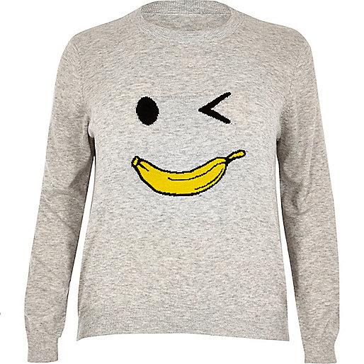 Pull Plus en maille motif homme banane gris