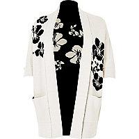 Cardigan Plus en maille motif fleuri noir et blanc