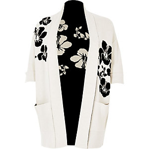 Plus white and black flower knit cardigan