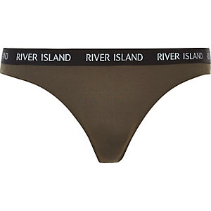 Khaki marl sports brief thong