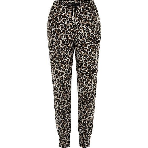 Pantalon de jogging en jersey motif léopard gris