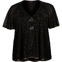 Plus black embellished T-shirt