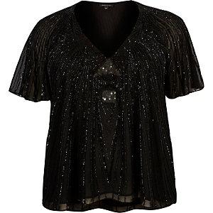 Plus black embellished T-shirt