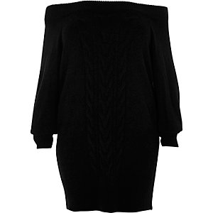 Plus black cable knit bardot jumper dress