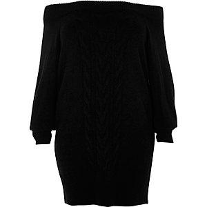 Robe pull RI Plus en maille torsadée noire à encolure bardot