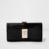 Black panel bow zip purse