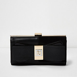 Black panel bow zip purse