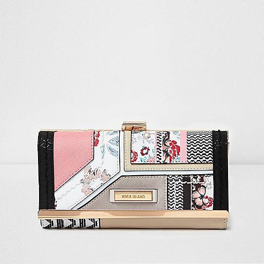 Pink floral block print clip top purse
