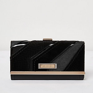 Black diagonal panel clip top purse