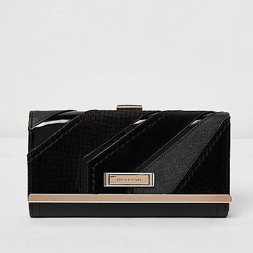 Black diagonal panel clip top purse