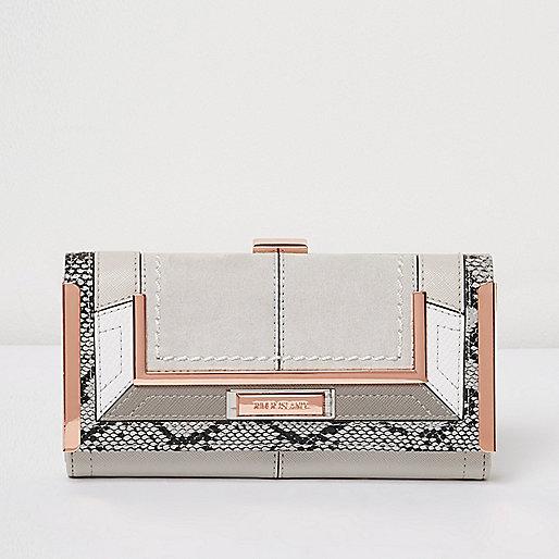 Grey snake print panel clip top purse