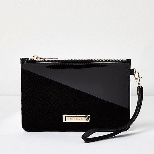 Black velvet panel pouch purse