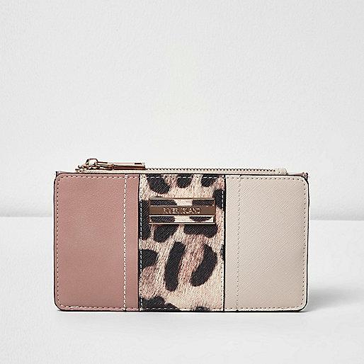 Leopard panel print foldout purse
