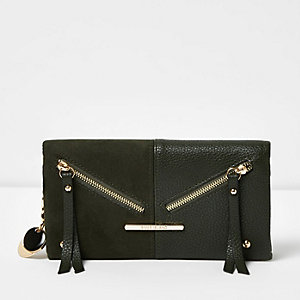 Dark green panel foldover purse