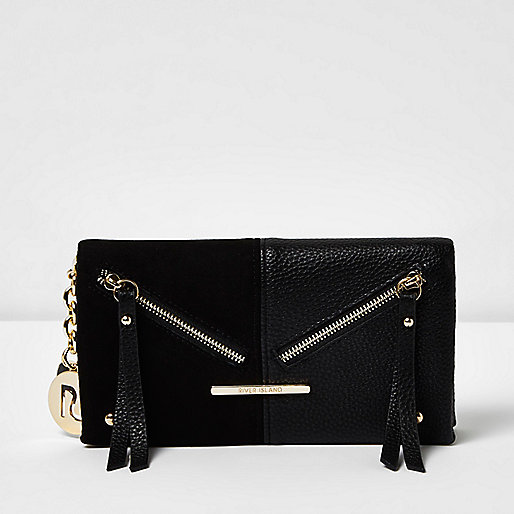 Black panel foldover purse