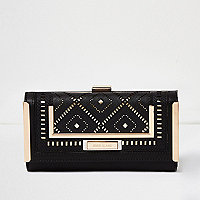Black laser cut clip top purse