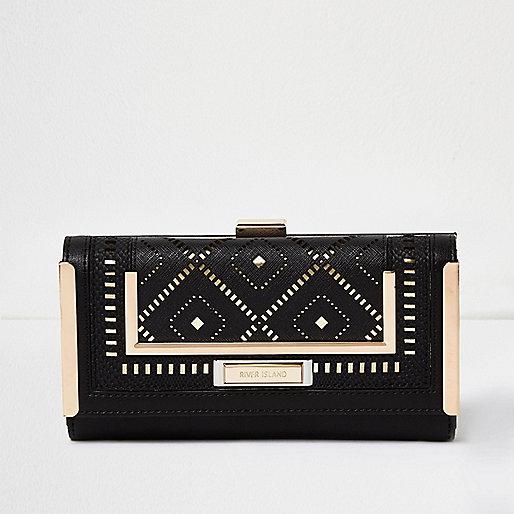 Black laser cut clip top purse