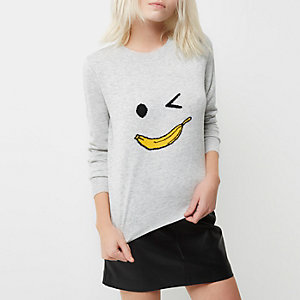 Pull en maille grise motif banane Petite