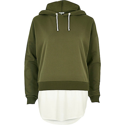 Khaki green contrast hem hoodie