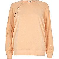 Fleece-Sweatshirt in hellem Korallenrot